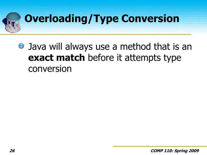 Overloading/Type Conversion
