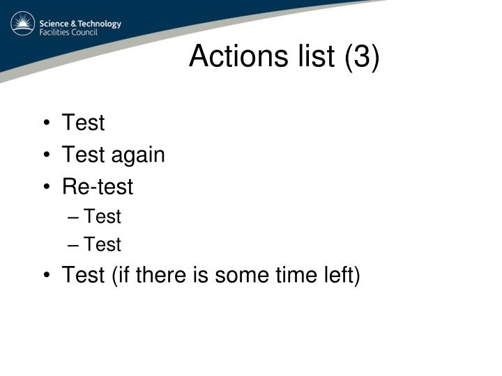 Actions list (3)