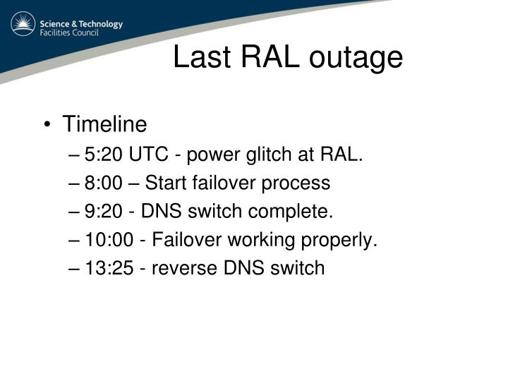 Last RAL outage