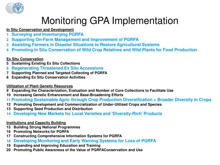 Monitoring GPA Implementation
