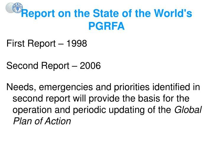 Report on the State of the World's PGRFA