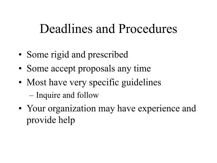 Deadlines and Procedures
