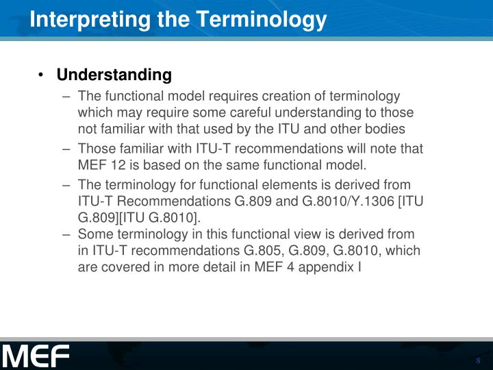 Interpreting the Terminology
