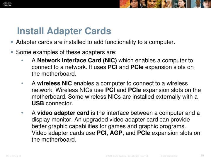 Install Adapter Cards