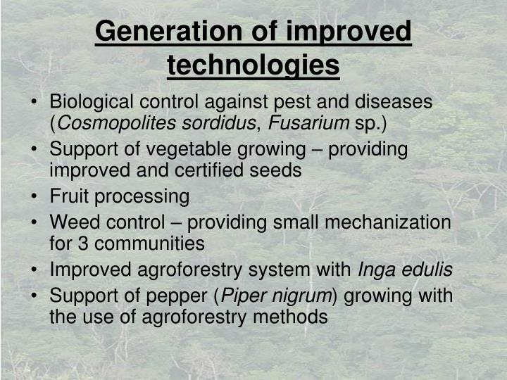 Generation of improved technologies