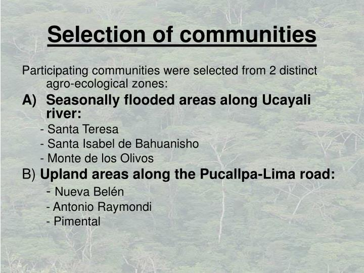 Selection of communities