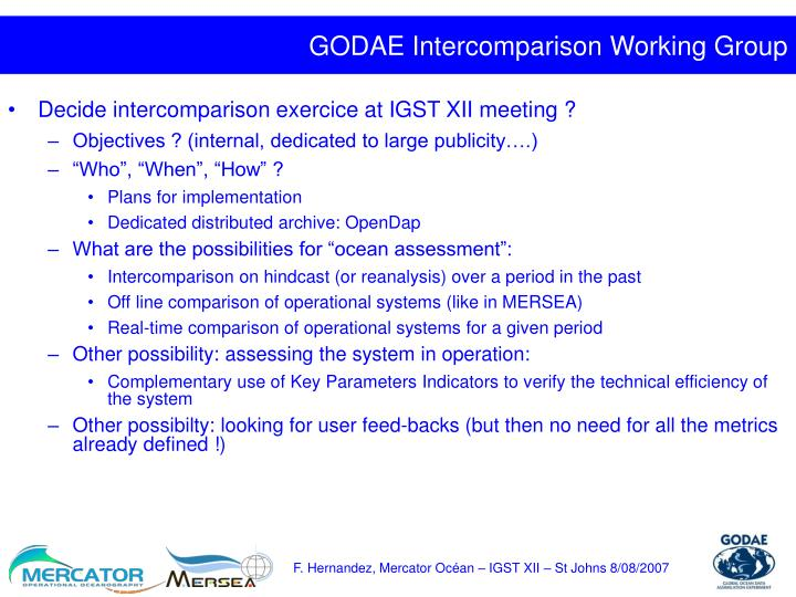 GODAE Intercomparison Working Group