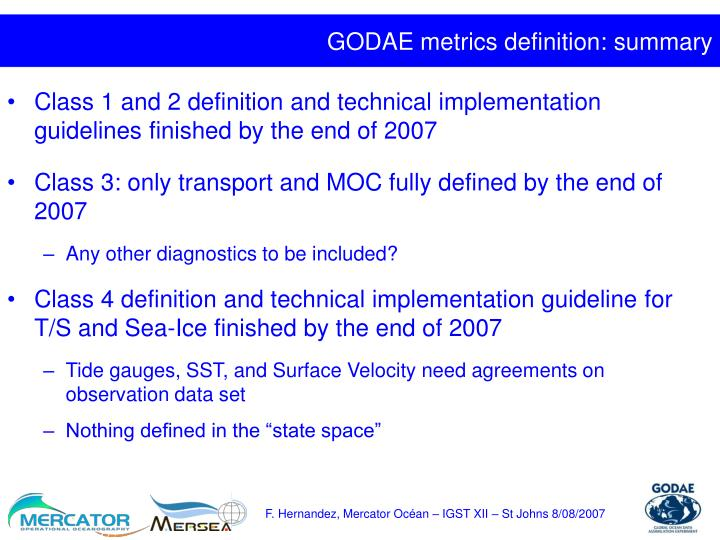 GODAE metrics definition: summary