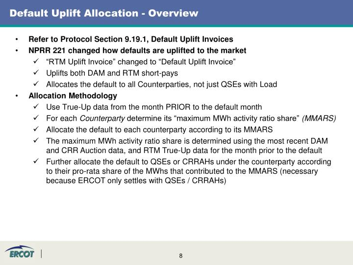 Default Uplift Allocation - Overview