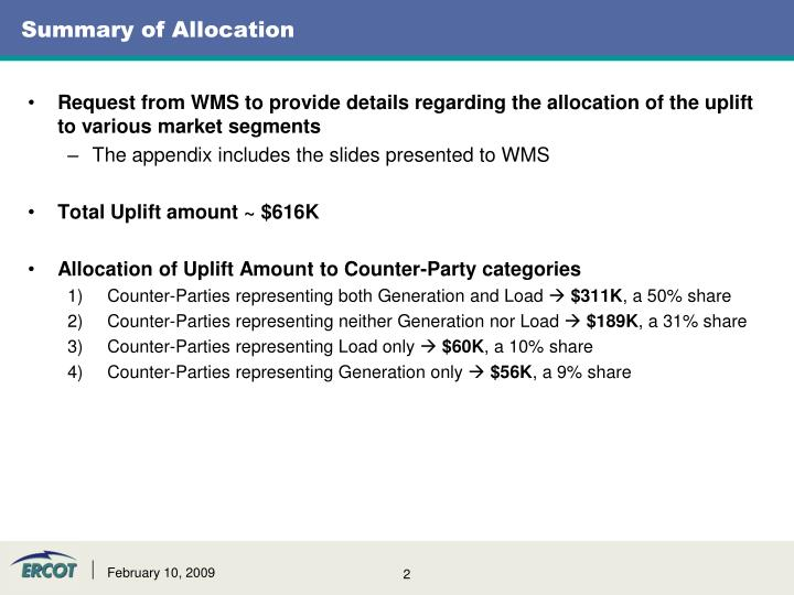 Summary of Allocation