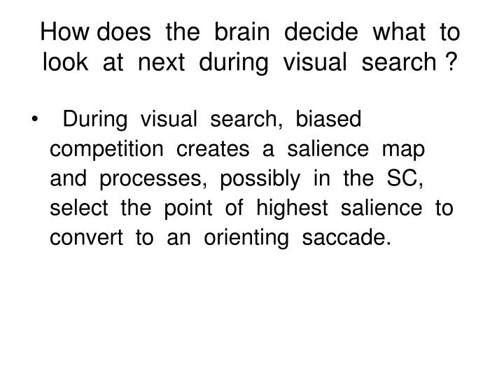 How does  the  brain  decide  what  to  look  at  next  during  visual  search ?
