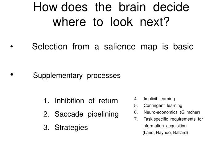 How does  the  brain  decide  where  to  look  next?