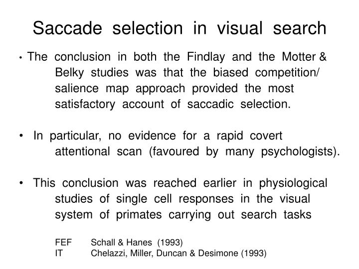 Saccade  selection  in  visual  search