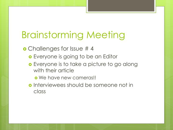 Brainstorming Meeting