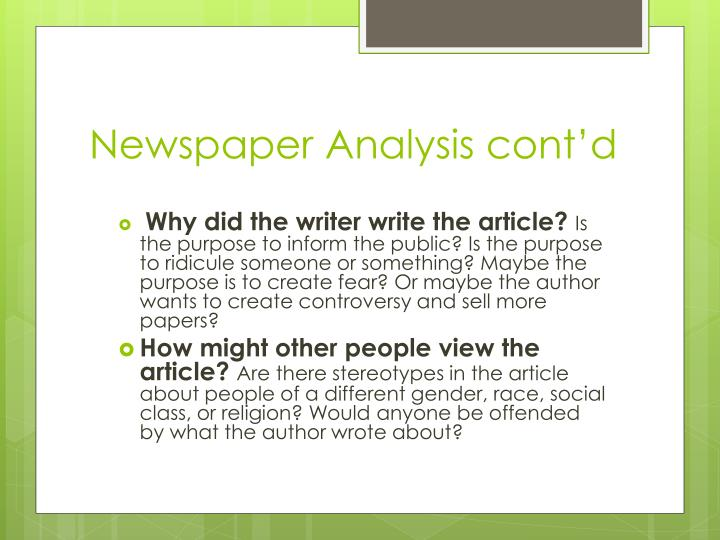 Newspaper Analysis cont'd