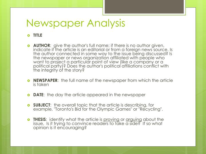 Newspaper Analysis