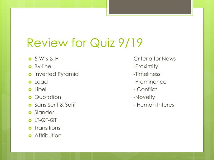 Review for Quiz 9/19