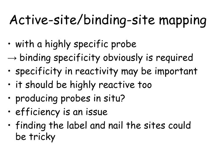 Active-site/binding-site mapping