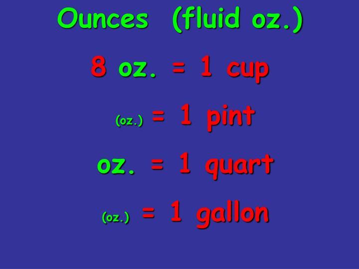 Ounces  (fluid oz.)