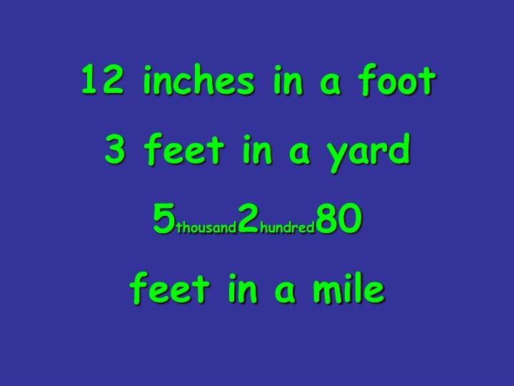 12 inches in a foot