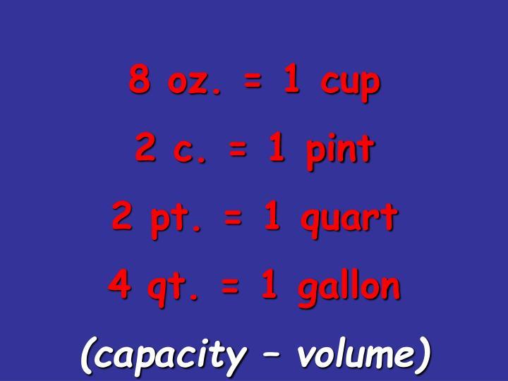 8 oz. = 1 cup