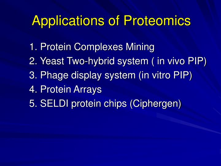 Applications of Proteomics