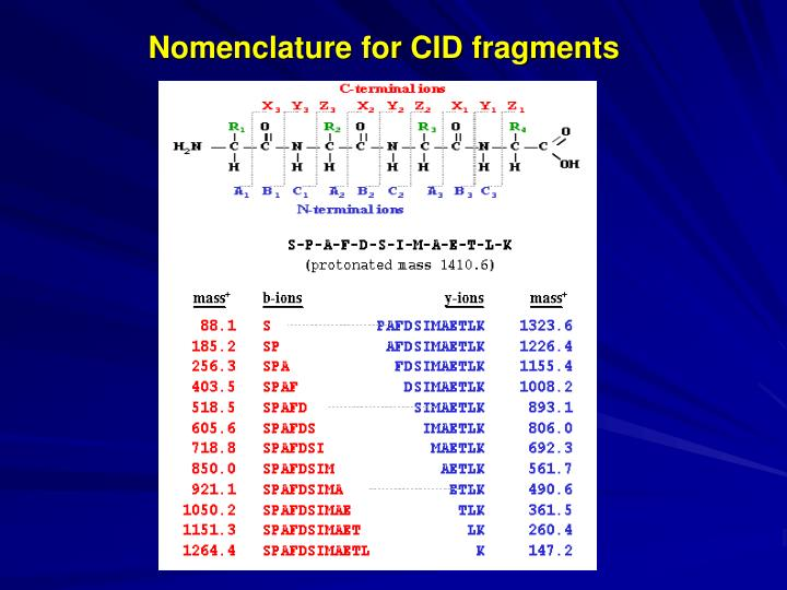 Nomenclature for CID fragments