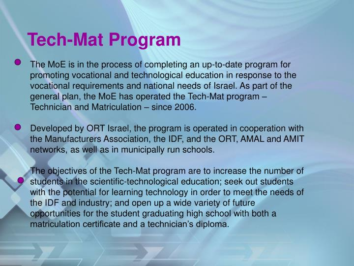 Tech-Mat Program