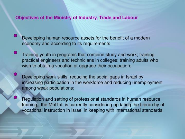 Objectives of the Ministry of Industry, Trade and Labour