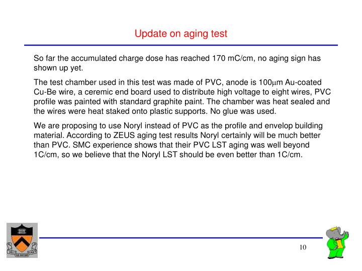 Update on aging test