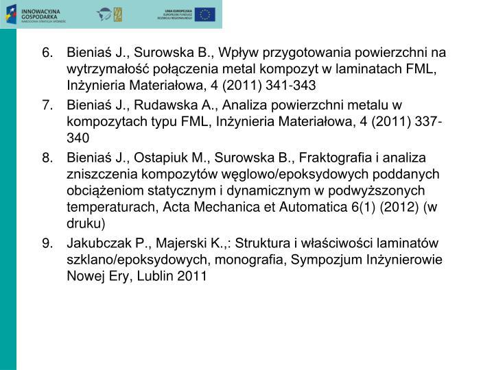 Bieniaś J., Surowska B., Wpływ przygotowania powierzchni na wytrzymałość połączenia metal kompozyt w laminatach FML, Inżynieria Materiałowa, 4 (2011) 341-343