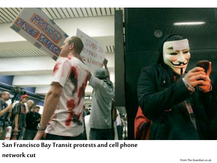 San Francisco Bay Transit protests and cell phone network cut
