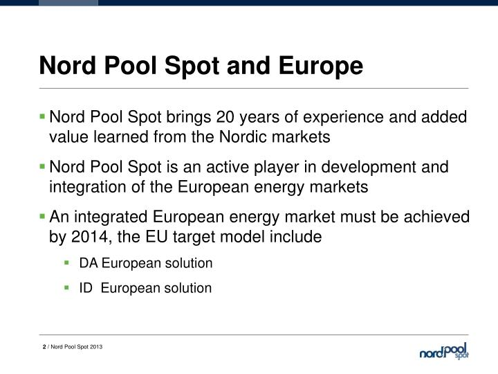 Nord Pool Spot and Europe