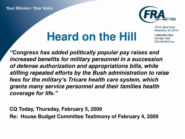 Heard on the Hill