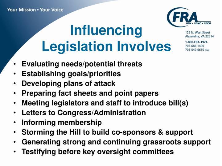 Influencing Legislation Involves