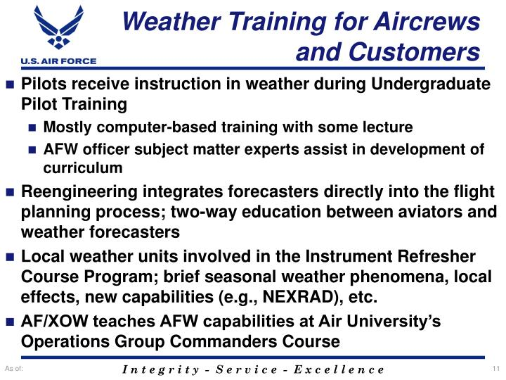 Weather Training for Aircrews and Customers