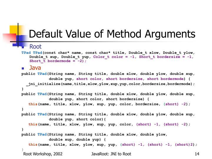 Default Value of Method Arguments