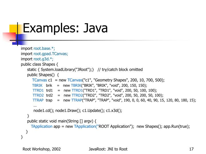 Examples: Java
