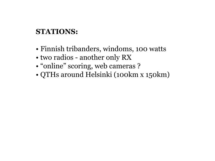 STATIONS: