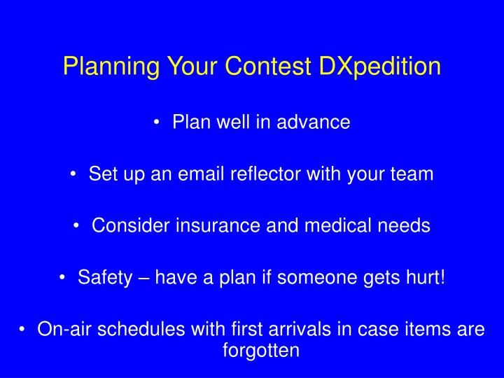 Planning Your Contest DXpedition