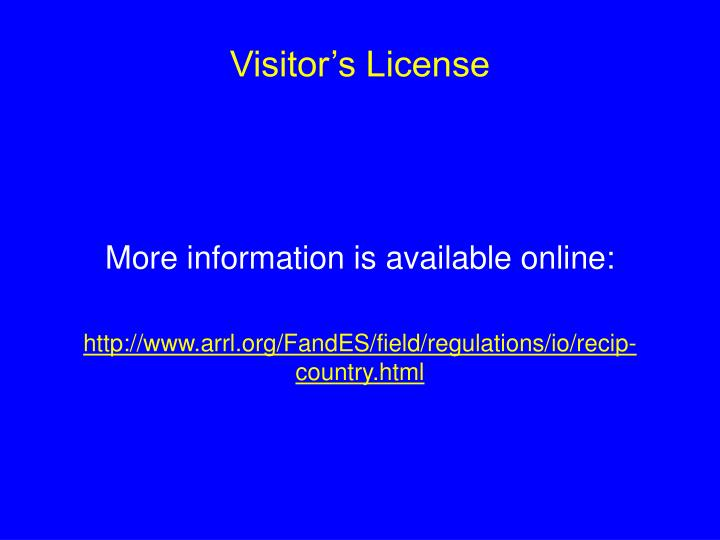 Visitor's License