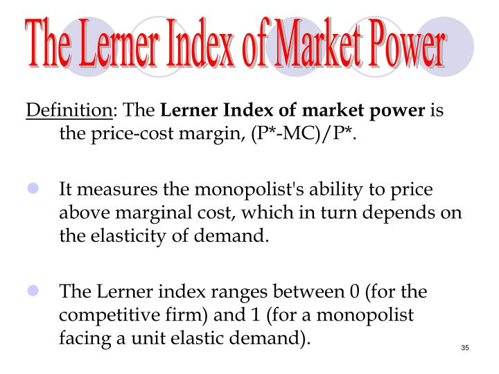 The Lerner Index of Market Power