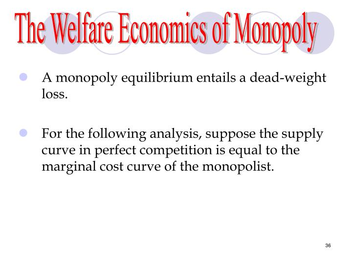 The Welfare Economics of Monopoly