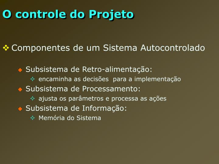 O controle do Projeto