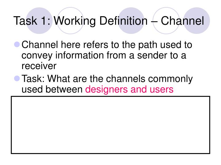 Task 1: Working Definition – Channel