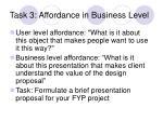 task 3 affordance in business level