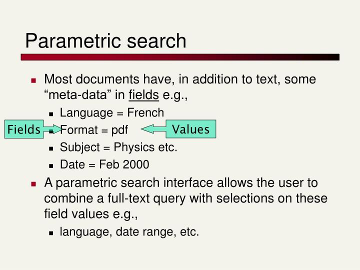 Parametric search