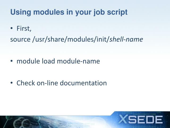 Using modules in your job script