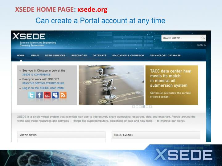 XSEDE HOME PAGE