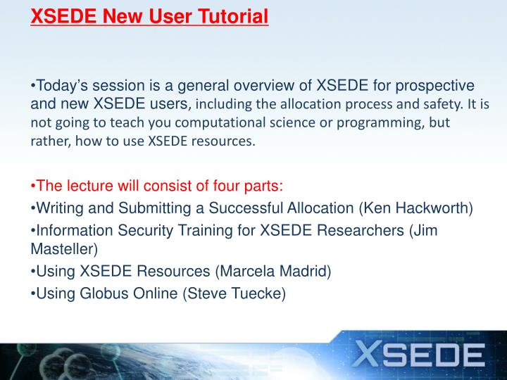 Xsede new user tutorial1